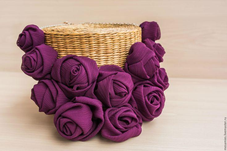 Купить Колье из текстиля ткани «Фиолетовый закат» пурпурный - фиолетовый, купить колье, украшение на шею