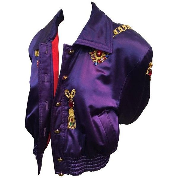 Preowned 1980s Escada Purple Silk And Wool Satin Bomber Jacket W Jewel... ($600) ❤ liked on Polyvore featuring outerwear, jackets, bomber jackets, purple, 80s jackets, wool jacket, purple jacket, style bomber jacket and embroidered bomber jackets