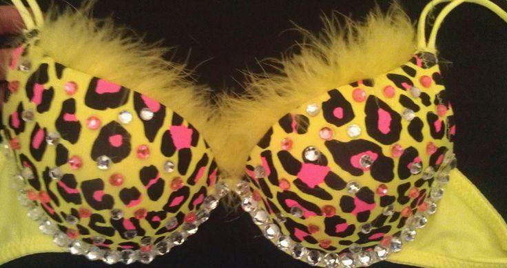 Rhinestone Bra Pink and Neon Yellow Leopard by Smokinghotdivas, $38.00