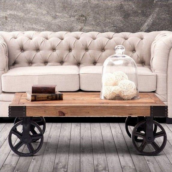 Klasik moda ahşap ve demir masa, metal mobilya, dört tekerlekler, 100% katı ahşap yemek masası, hareketli oturma odası mobilya