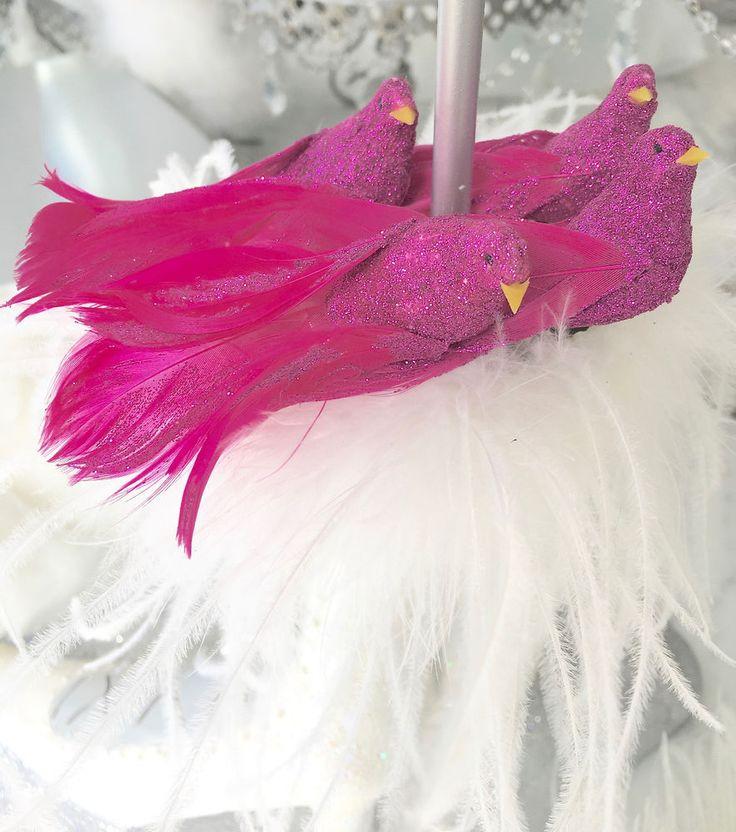 Set Shabby Chic 4 Hot Pink Minature Glitter Birds Christmas Decoration Ornaments