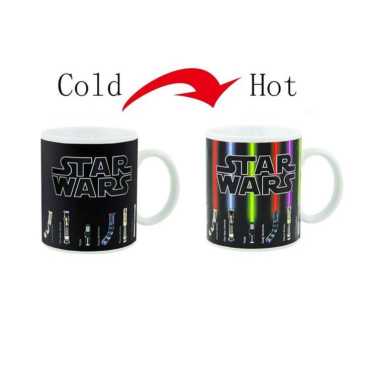 Venta caliente Nueva Moda para Preparar Té Café Taza Mágica Taza de Cambio de Color Tazas de Star Wars Lightsaber Revelar de Calor Taza De Cerámica