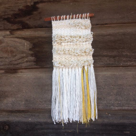 White and gold woven wall hanging / Mini by handspunandweaving