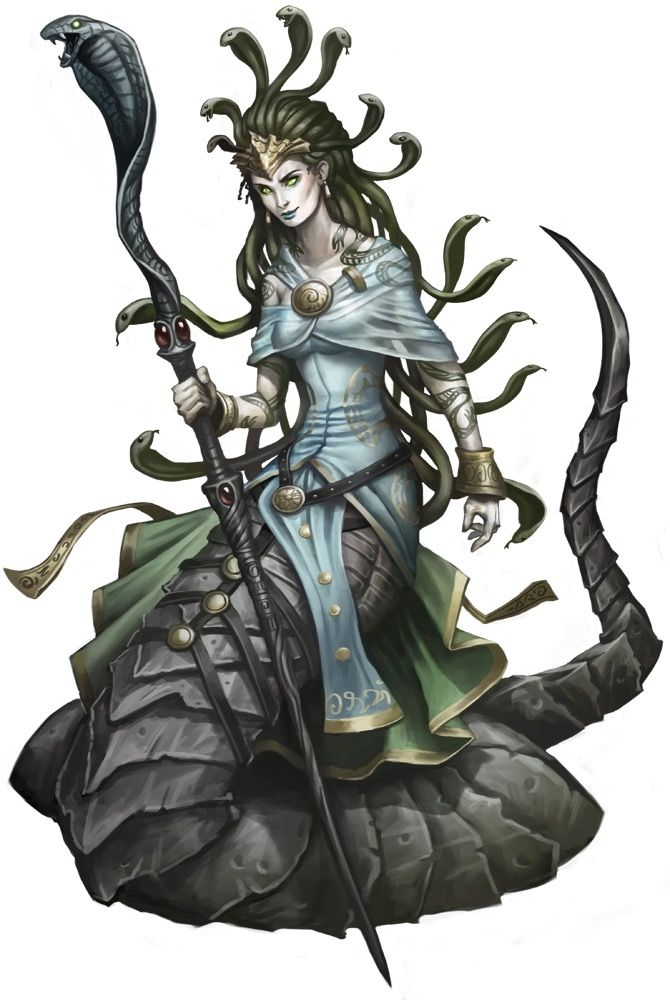 While Gorgons (or Medusa) walk around on two legs, the elder Euryale slither around on the lower-body of a giant serpent.  Euryale are known as the Godslayers as their powers are extreme.  Of the three gorgon races the the Euryale are the most...
