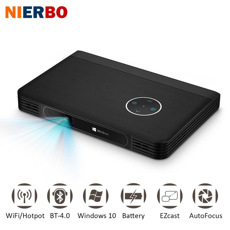 NIERBO LED Battery Projector Portable Windows 10 Projector ...