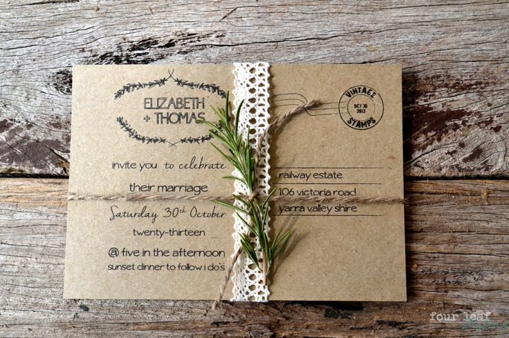 Elizabeth+Thomas' rustic Wedding invitations, by Four Leaf Styling