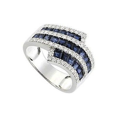 Bague femme diamants Saphir, or blanc, 18 carats, 5.70 grammes, Diamants 0.31 carat, Saphirs 2.47 carat. http://www.princessediamants.com/article-bague-femme-saphirs-diamants-or-blanc-2597.htm