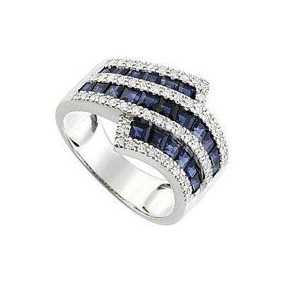 Bague femme diamants Saphir, or blanc, 18 carats, 5.70 grammes, Diamants 0.31 carat, Saphirs 2.47 carat. http://www.princessediamants.com/article-bague-femme-saphirs-diamants-or-blanc-2597.htm