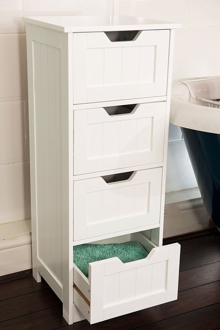 White storage cabinet 4 large drawers bathroom or - Bedroom storage cabinets with drawers ...