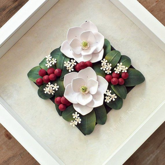 Magnolia Wall Art Quilling Paper 3d Flowers White Flowers Botanical Decor Paper Anniversary Gift For Her Nursery Decor Hoa Giấy Hoa