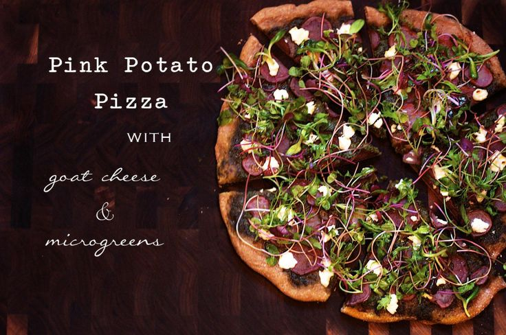 Potato Pizza with Microgreens | Greensandseeds.com  This pizza will be still be delicious with regular red or yukon gold potatoes!
