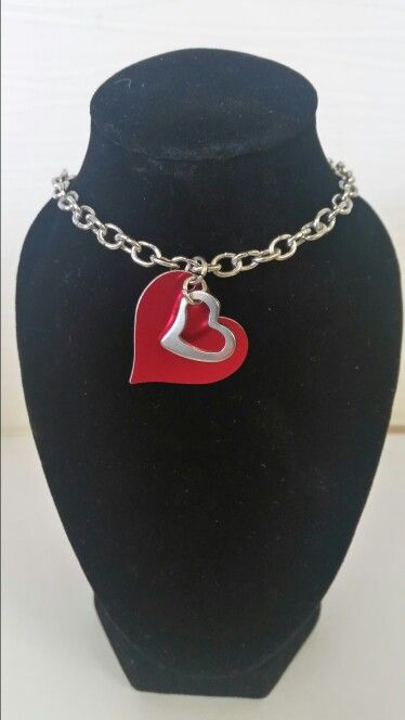 Red double hearted necklace. AUS $ 8.00