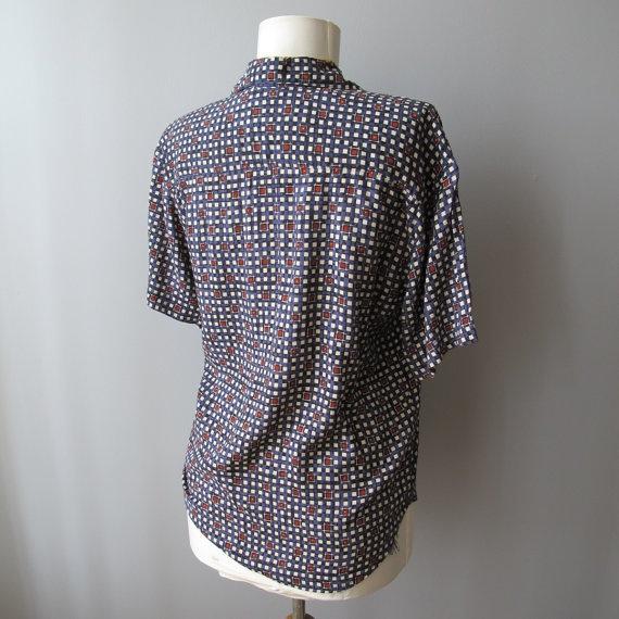 vintage rayon blouse  geometric print  short by OracleVintageShop, $25.00