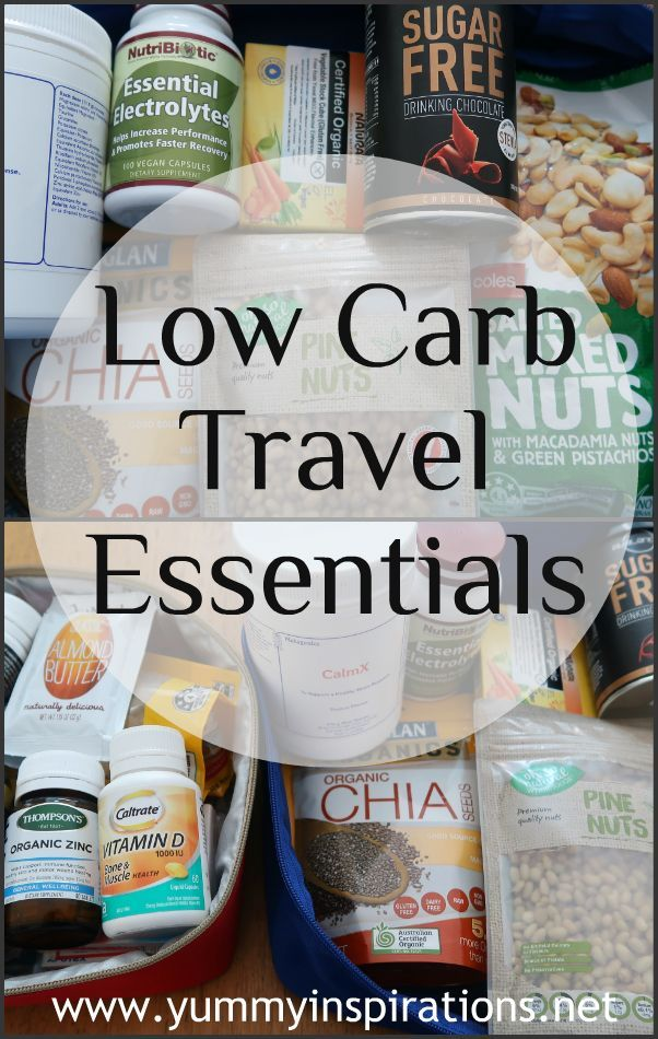 Low Carb Travel Essentials - ideas for snacks, foods, meals and keeping healthy while traveling.