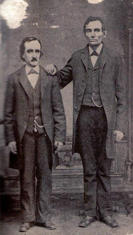 Edgar Allan Poe posa con Abraham Lincoln. Washington. 4 de febrero de 1849.