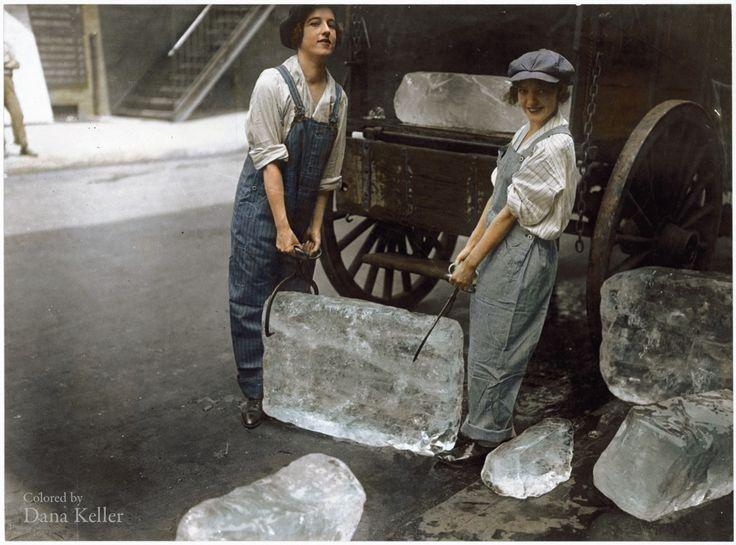 """""""Girls deliver ice."""" September 16, 1918, New York"""