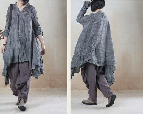 $75 Joke????????????women linen loose shirt dress - Tkdress  - 1