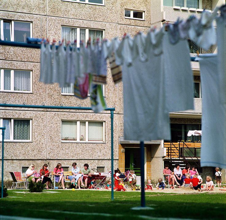 Vor einem Plattenbau im früheren Ostberliner Stadtbezirk Hellersdorf sitzen im Jahr 1985 junge Frauen auf Klappstühlen und Bänken und sind in Gespräche vertieft, während ihre Kinder im Sandkasten und auf der Wiese vor dem Wohnblock in der Sonne spielen.   Bildrechte: dpa