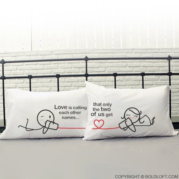 """Cute Valentine's Day gifts for boyfriend or husband- BoldLoft Between You & Me His and Hers Couple Pillowcases.  From Cutie Pie, Sweetie to Honey Bunny and Chunky, a cute pet name is definitely the """"insider"""" language between you and your significant half. When hardly anything is private anymore, savor the privacy of the intimate nickname only the two of you get!"""