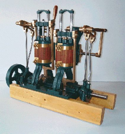 Twin cylinder, double acting, scotch yoke design steam engine from Pearl Engines.