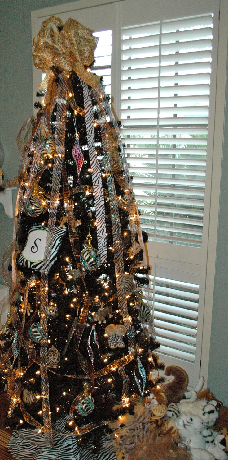 Safari Theme Tree This Tree Belongs To My 9 Year Old Her Room Has A  Safari Theme, So I Used A Black Christmas Tree And Lots Of Animal Print  Ribbon