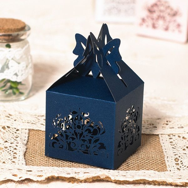 navy blue laser cut wedding favor boxes EWFB112