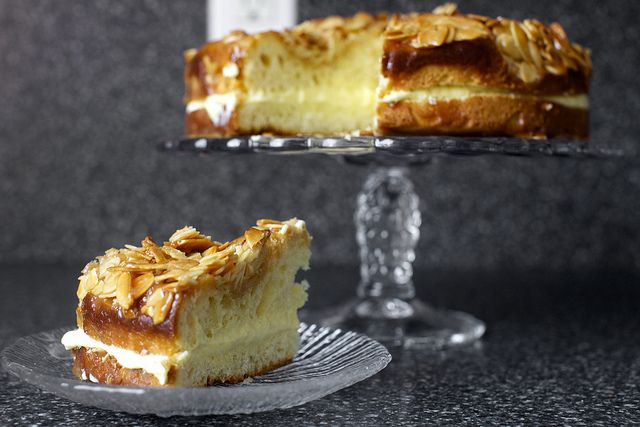 Bee sting cake: a yeasted cake with a honey almond crunch topping filled with pastry cream