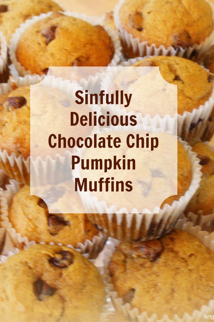 Get the recipe! Chocolate chip pumpkin muffins