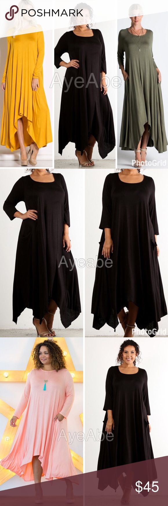 Plus size long sleeves asymmetrical hem maxi dress New plus size  Hi Low hem, asymmetrical hem Long Sleeve  Oversized Flowy Maxi with pockets SUPER sexy Long sleeve hi low maxi dress,side Pockets, Oversized, loose fit Super Comfy, soft knit jersey material lightweight fabric. Dresses Maxi