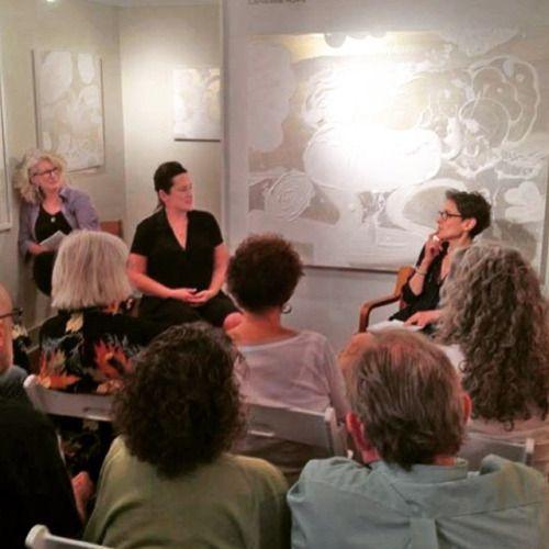 #CatherineHowe & #SuzanneJoelson discuss #gesture in #painting at Cross #ContemporaryArt #Saugerties thurs 7/23 #nyaaMFA #printmaking #prints #hudsonvalley #catskills photo: Steve Gentile Photography  (at Cross Contemporary Art)