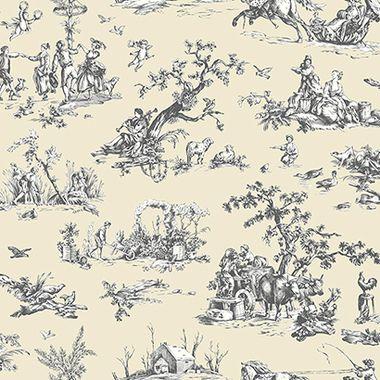 AB2130 - Ashford House Black & White Scenic Toile Cream Wallpaper