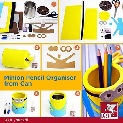 Minion Pencil Organiser from can