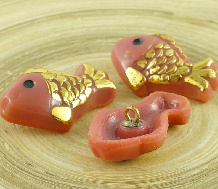 1pc Large Gold Handmade Czech Glass Buttons Size 14, 33mm