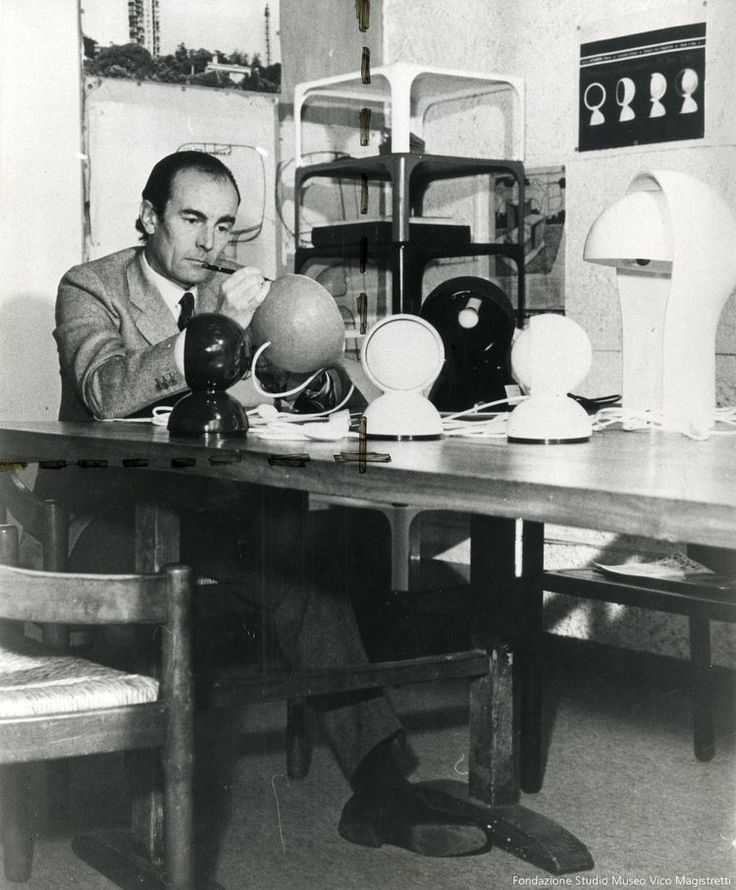 Vico Magistretti designing the Eclisse light for Artemide