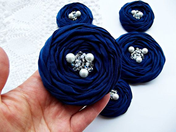 Navy Fabric Roses Handmade Appliques by BizimSupplies on Etsy