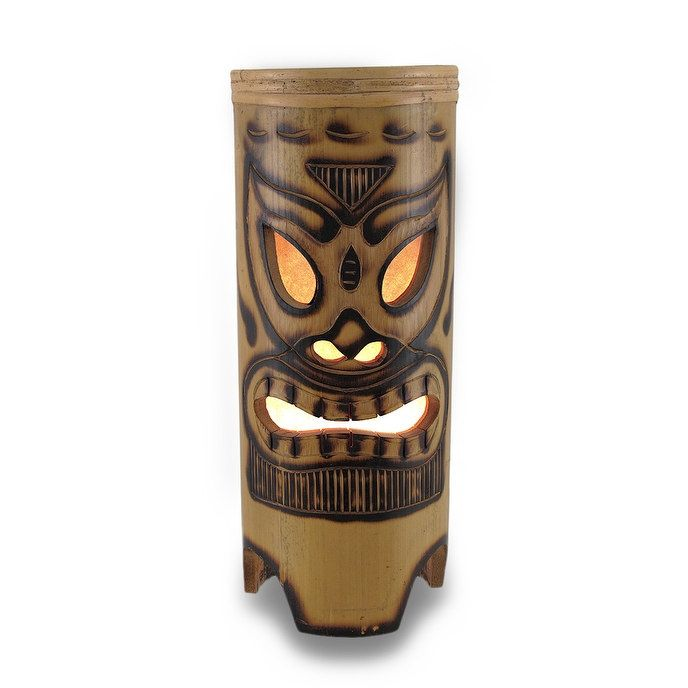 Tiki Face Tan Bamboo Table Lamp - Brown (Wood)