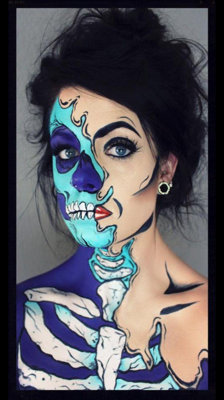 Pop art skull. Halloween makeup. Halloween. Skull. @kolleen_mua
