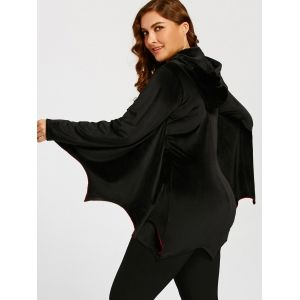 Bat Wings Plus Size Zip Up Hoodie - BLACK 4XL