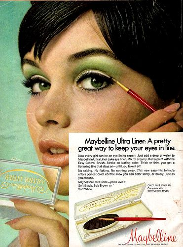 Vintage Maybelline: This ad is promoting eyeliner, which was a popular cosmetic product during the 60s. Description from pinterest.com. I searched for this on bing.com/images
