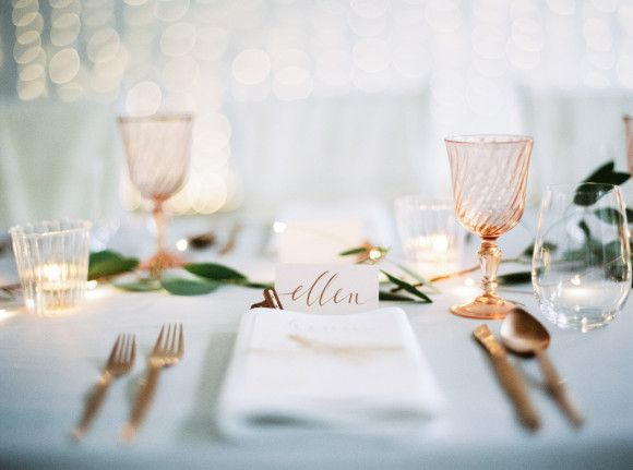 Beautifully simple place setting. Love the hints of rose gold!! Pale Blue and Gold Urban Wedding Ideas