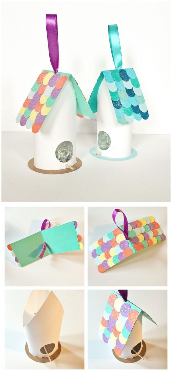 Cute Birdhouse Paper Tube Craft for Kids. Recycled bird craft.