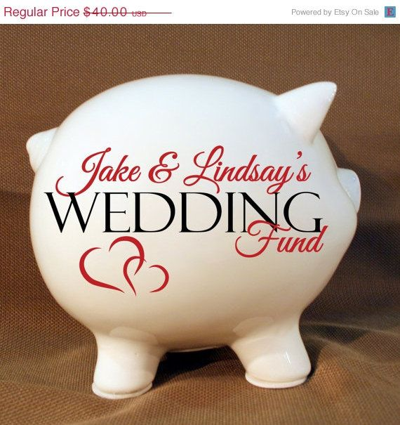 YEAR END SALE  5.5 Wedding fund personalized piggy bank by LEVinyl