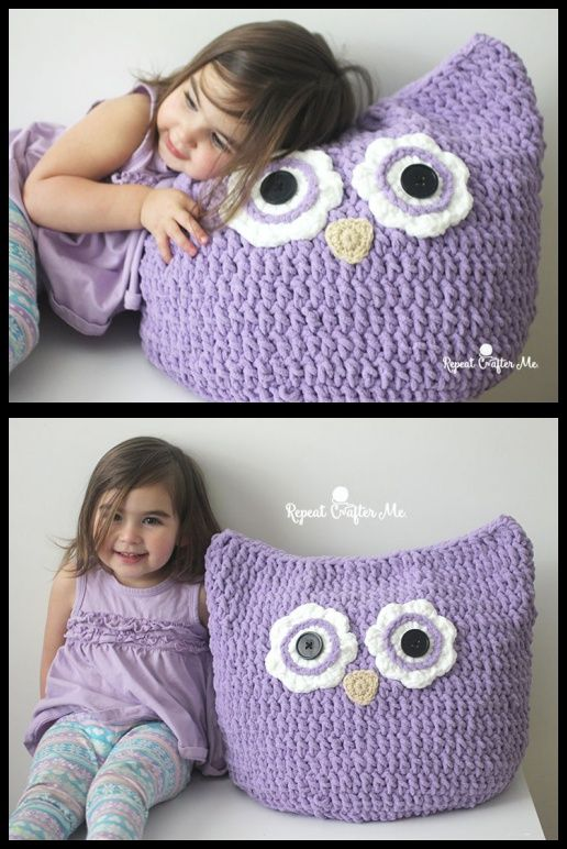 This Cuddly Crochet Owl Pillow with Free Pattern Is Perfect For Snuggling Up To