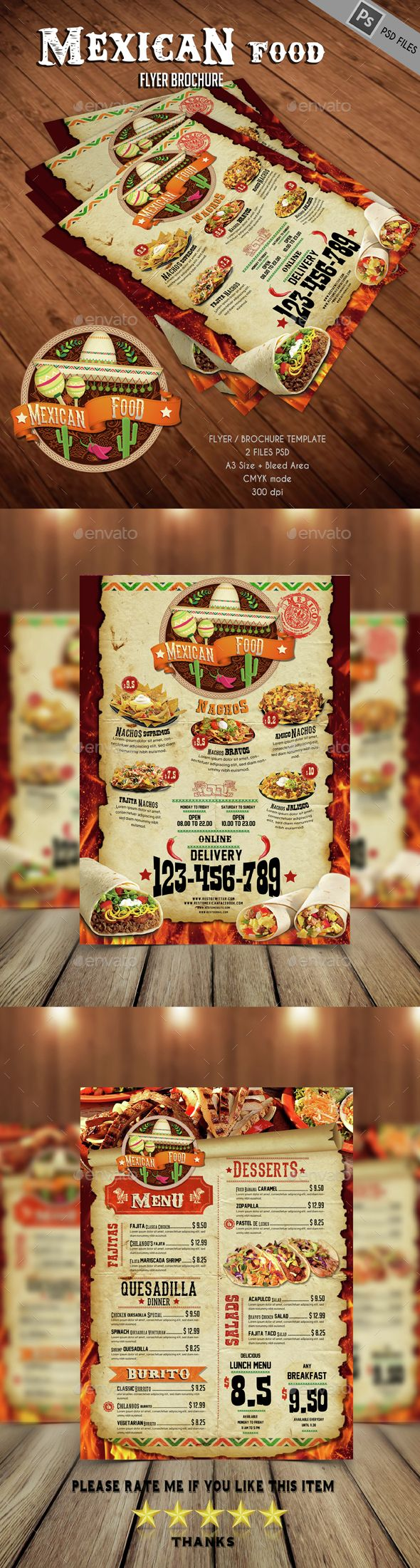 Mexican Food Menu Template PSD. Download here: http://graphicriver.net/item/mexican-food/14675797?ref=ksioks