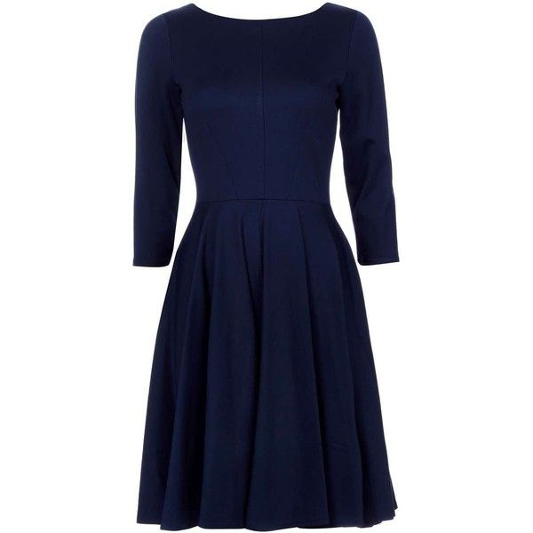 Closet Navy Long Sleeve Fit Flare Dress ($50) ❤ liked on Polyvore featuring dresses, blue dress, long sleeve dress, navy dress, fit flare dress and blue fit-and-flare dresses
