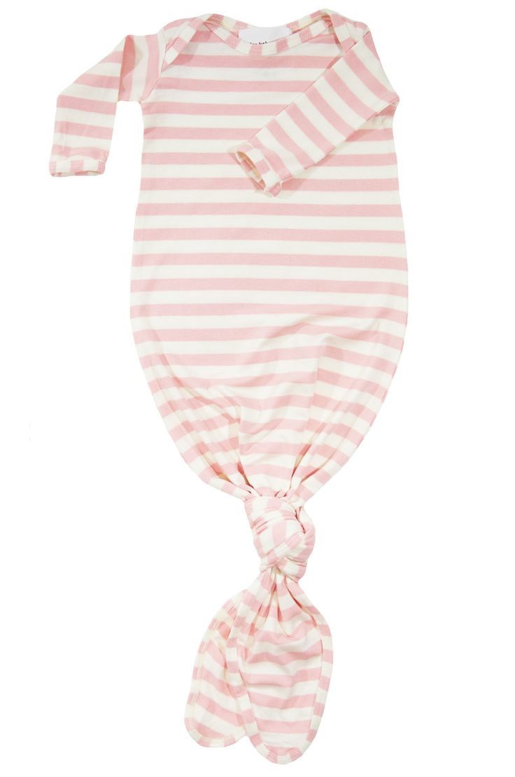 knotted baby gown in blush and natural stripe *with NEW fold-over mittens*