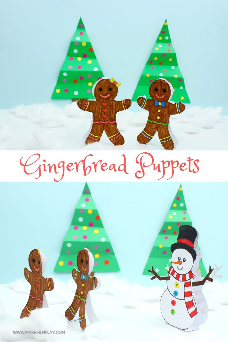 Gingerbread Puppets Free Pdf Printable Paper Toy Paper Crafts Pinterest Christmas Crafts Crafts