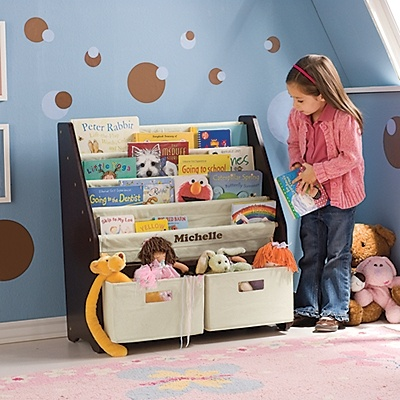 Kids' Sling Bookshelf with Storage Bins by One Step Ahead.  Having front facing book storage is important to new readers!  #sponsored