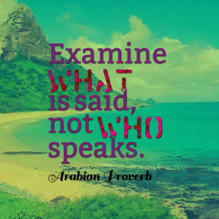Examine what is said, not who speaks - Arabian proverb