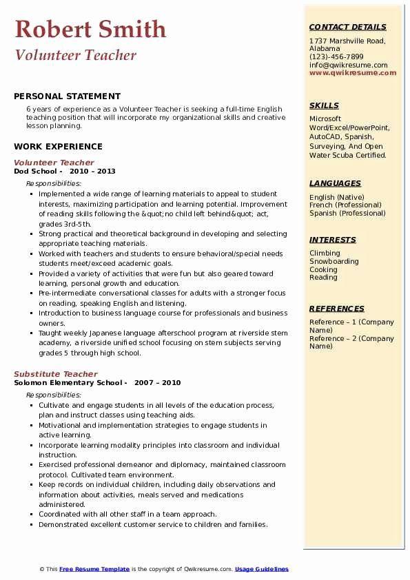 23 Volunteer Work Examples For Resume In 2020 Volunteer Teacher Teacher Resume Volunteer Work
